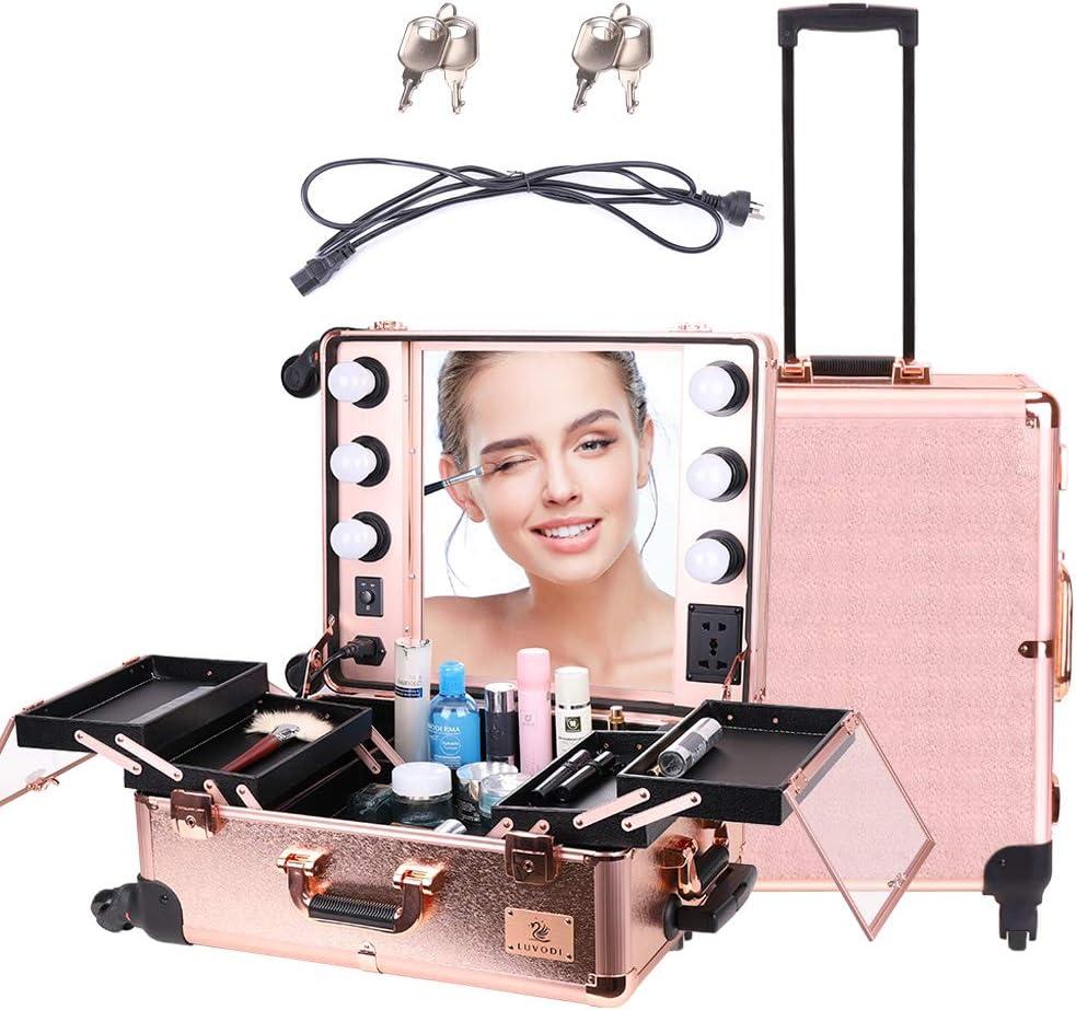 LUVODI® Maleta Profesional de Maquillajes con Ruedas, Maletín de Cosméticos, Estuche de Maquillajes Profesional, con 6 Bombillas de Luces y Espejo