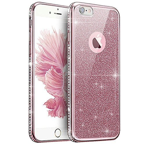Price comparison product image iPhone 7 Case,iPhone7 Case,ikasus Slim Bling Glitter Crystal Diamond Flexible Soft Rubber Clear TPU Transparent Skin [Rose Gold] Electroplate Plating Bumper Silicone Case Cover for iPhone 7 4.7""