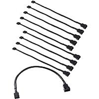 Easycargo 30cm Case Fan Extension Cable, PWM Fan Cable Extension, 3 pin 4 pin Case Fan Power Extension 10-Pack
