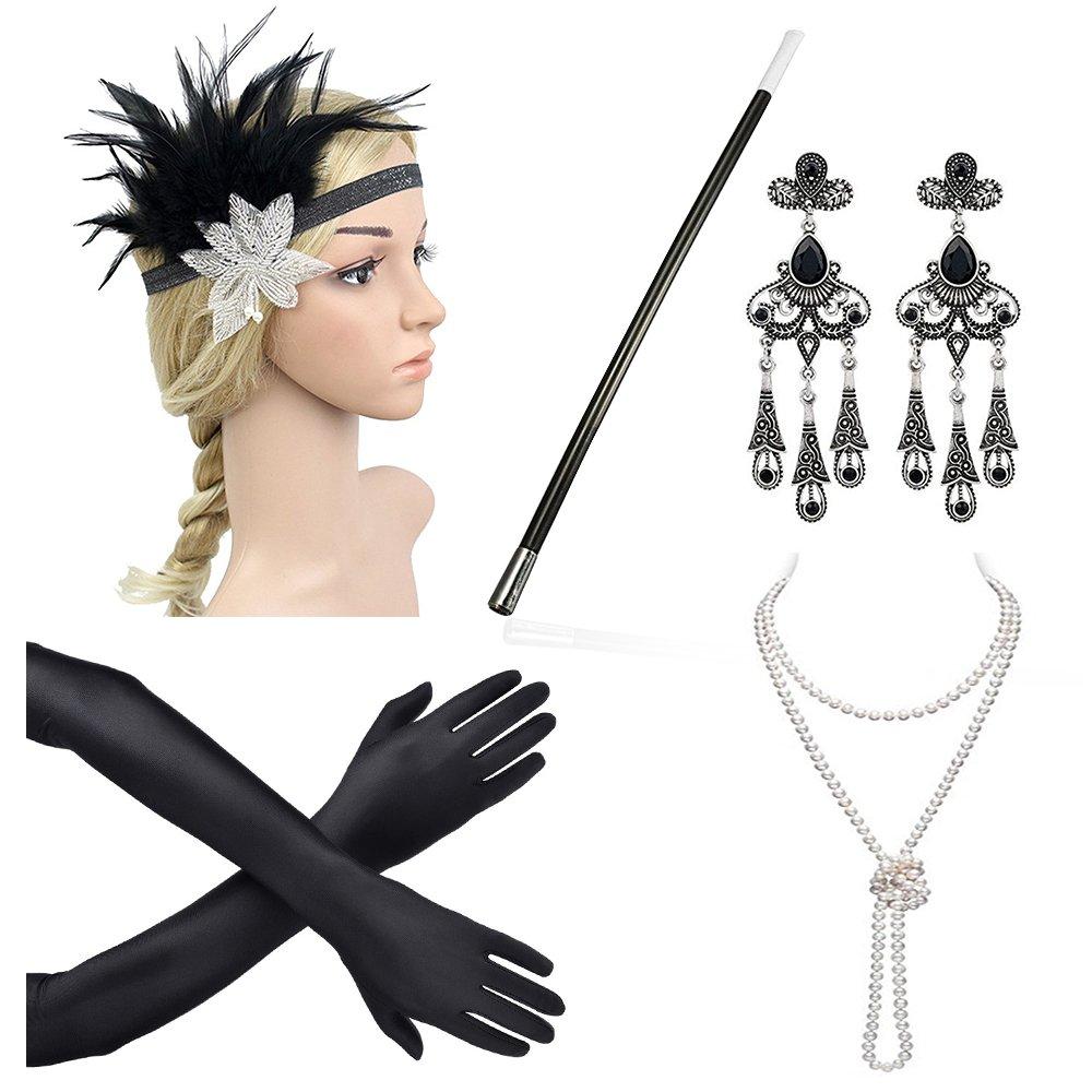 Beelittle 1920s Accessories Headband Earrings Necklace Gloves Cigarette Holder (A1)