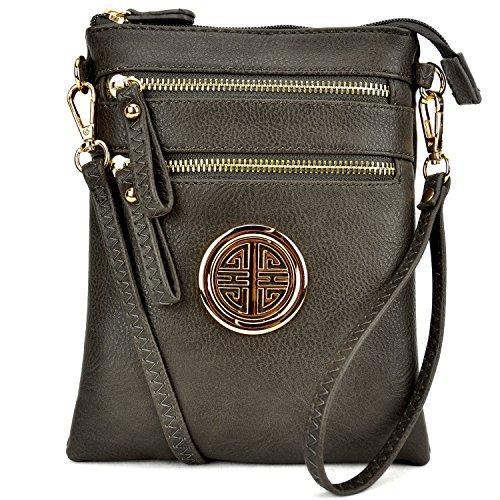 Over Body Bag (Lady Small Crossbody Bag Purse Lightweight Multi Pocket Shoulder Bag Messenger Bag Faux Leather Charcoal Gray)