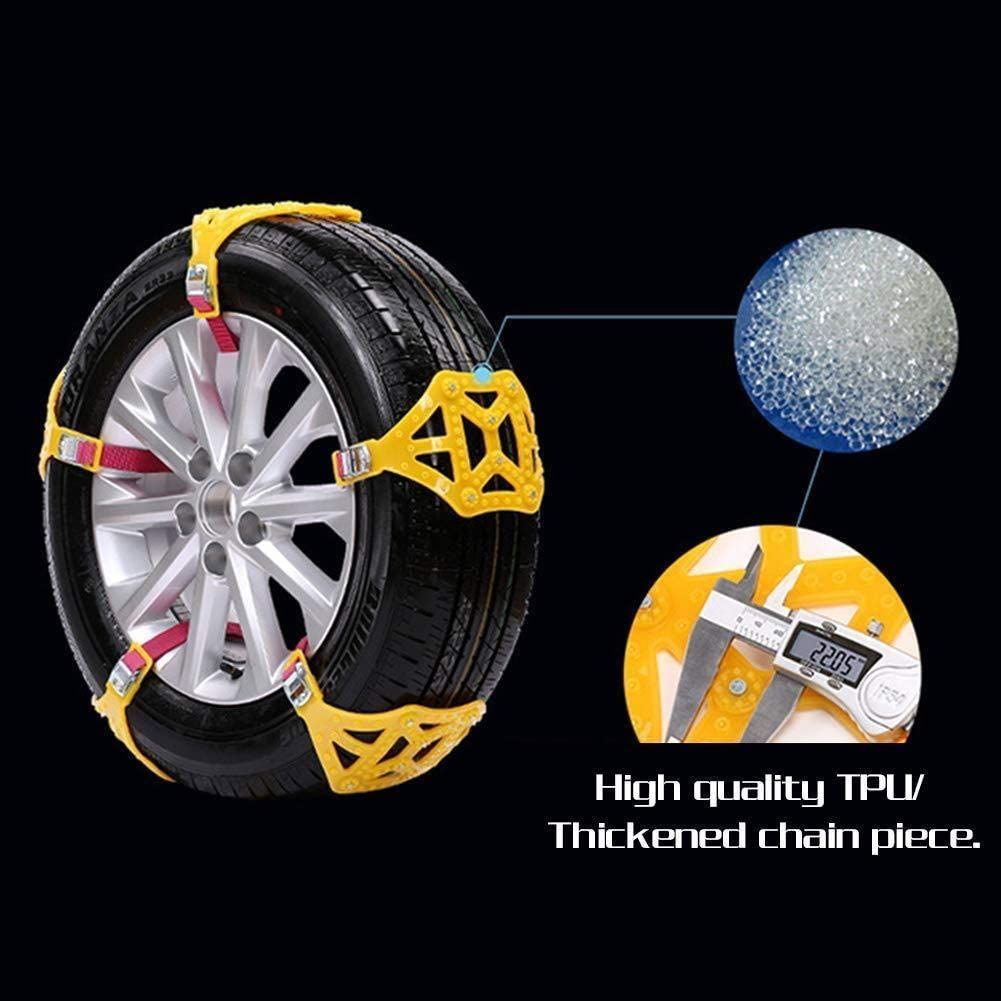 AUTOGO Snow Chains 8Pcs Anti-Skid Snow Chains for Sudden Snow Easy to Fit Emergency Car Snow Tyre Chains Universal for Tyres Width 165-285mm