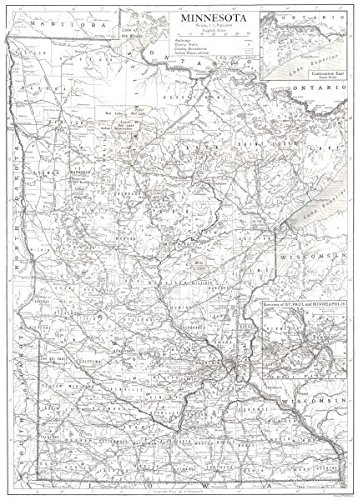 Amazoncom MINNESOTA State Map Showing Counties Inset Maps Of St - Vintage minneapolis map