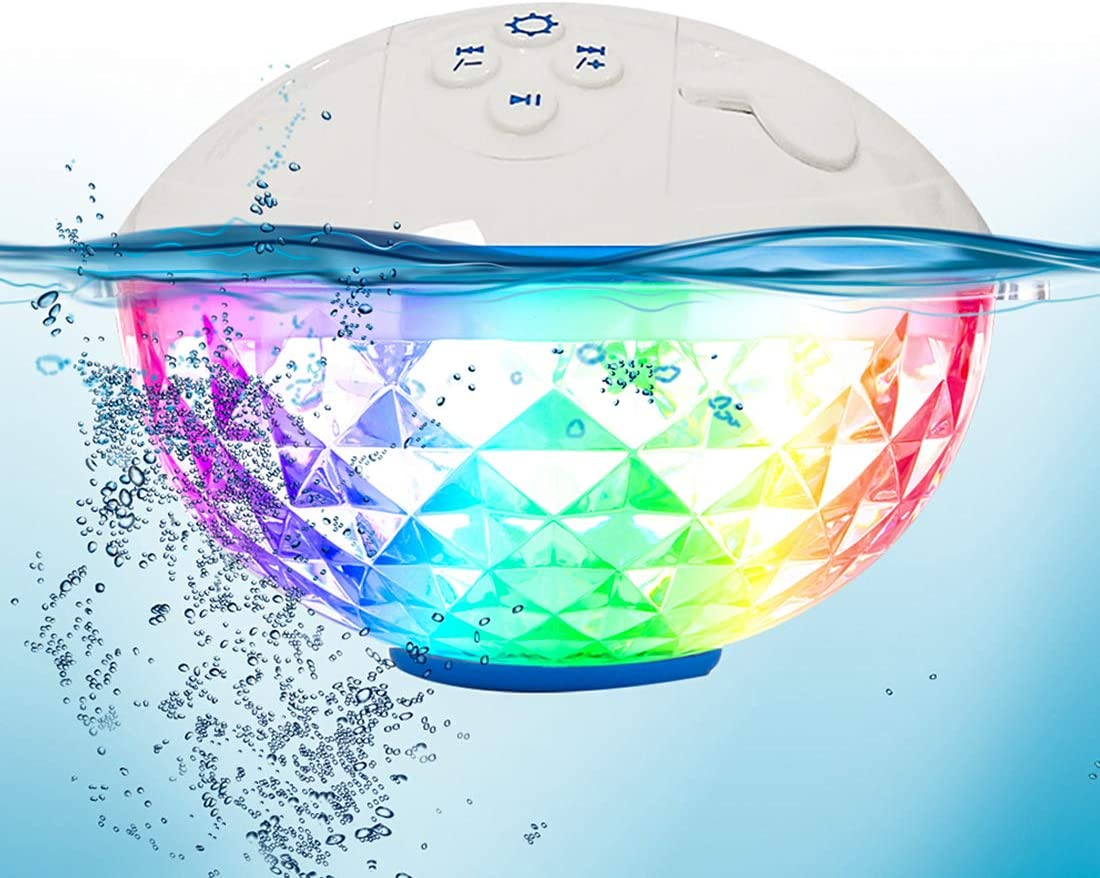 FirstE Altavoz Bluetooth Flotante Colores Luces Cambio Altavoz Portatil,Impermeable IPX7 Altavoz Piscina,Manos Libres Sonido Estéreo Cristalino Altavoz Inalámbrico para Bañera Hidromasaje SPA Fiesta