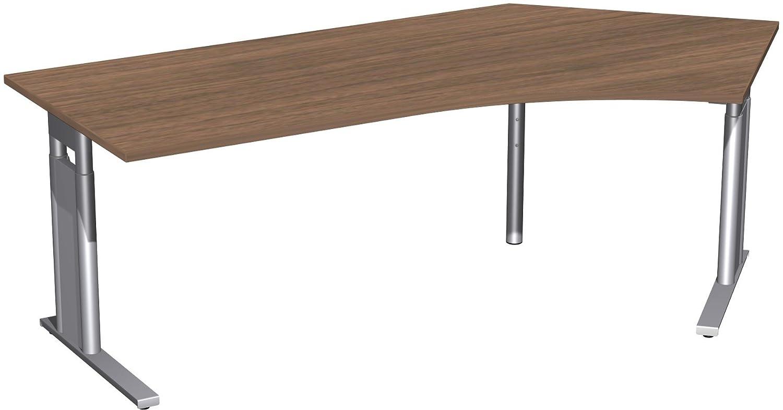 Geramöbel Schreibtisch 135° rechts höhenverstellbar, C Fuß Blende optional, 2166x1130x680-820, Nussbaum/Silber