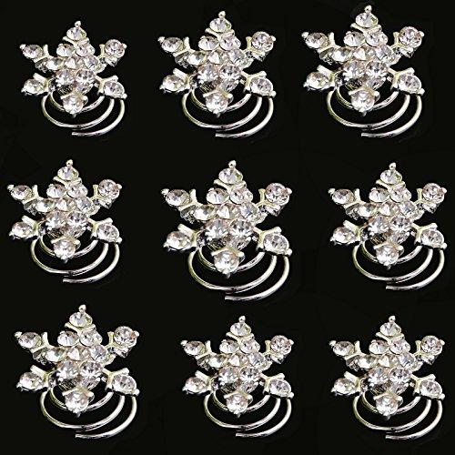 Crystal Swirl Pin (Yantu 12pcs Clear Crystal Snowflake Swirl Hair Twists Coils Spirals Hair Pin Clip Accessories)
