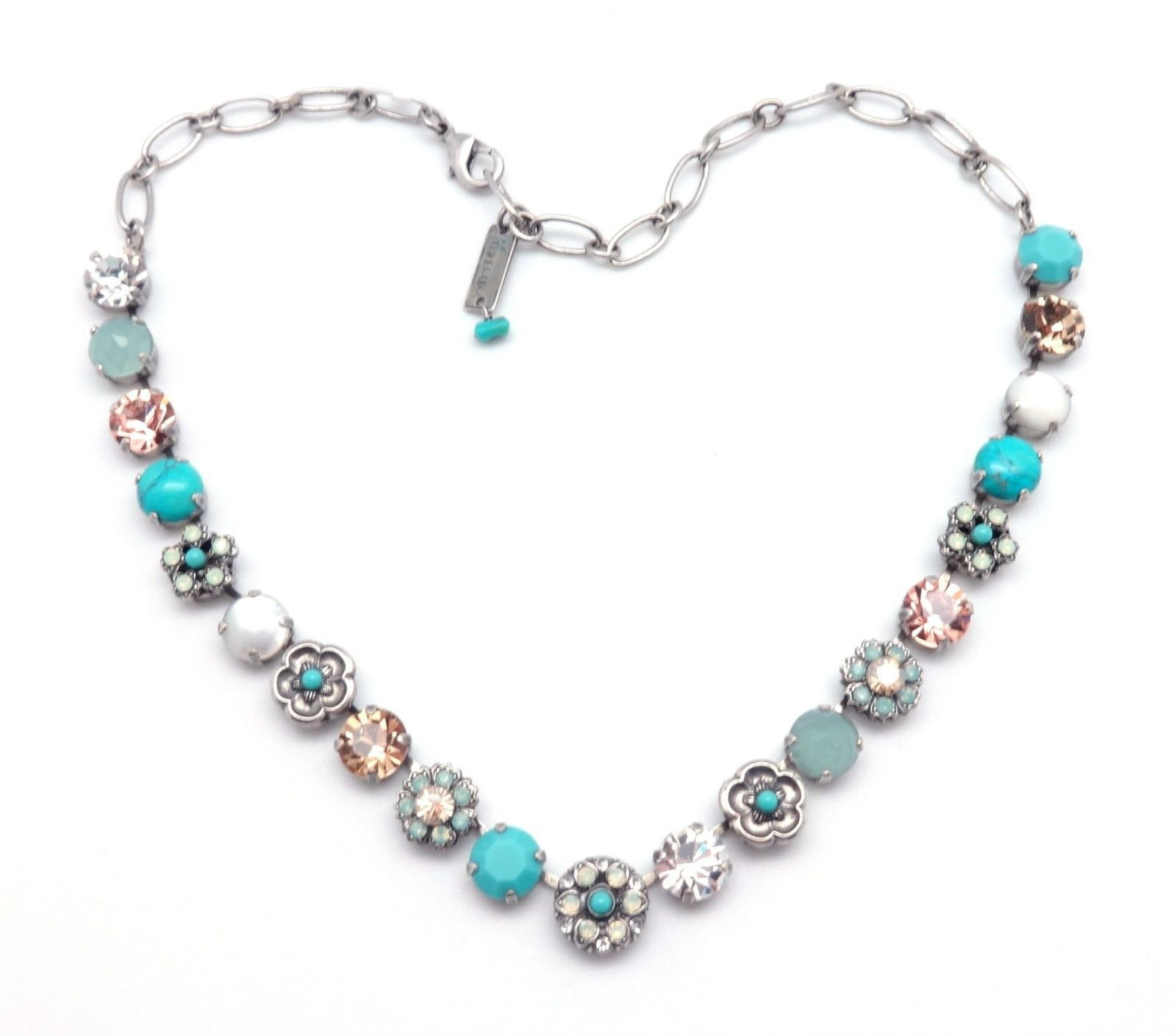 MARIANA M1042 Summer Palace Aqua with Simulated Mother of Pearl & Clear Swarovski Silver Plated Necklace