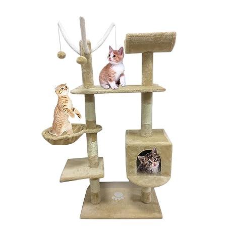 Homgrace Árbol para Gatos Juguete Rascador para Gatos para Que los Gatos para Relajarse, Jugar y Descansar Color Beige (130 cm)