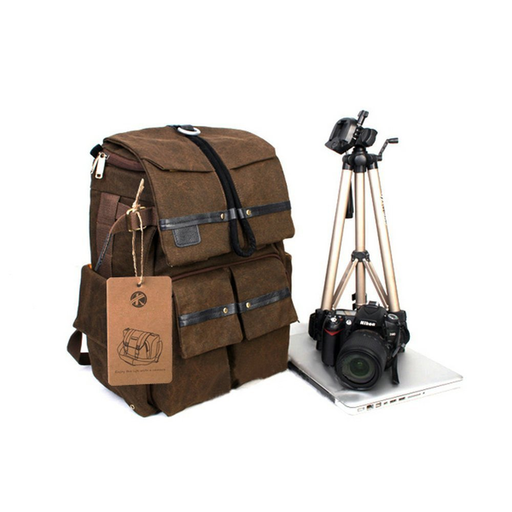 BESTEAM Waterproof Canvas DSLR SLR Camera Laptop Backpack Bag Rucksack For Cannon Nikon Apple Asus Lenovo 45x18x30cm Laptop Size Support 15'' Max by BESTEAM