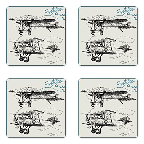 of Four, Classic Nostalgic Planes Aircraft Propeller in the Sky Fast Travel Wings Sketch, Square Hardboard Gloss Coasters for Drinks, Blue Black ()