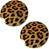 Leopard Car Coasters - Round Sandstone Car Coaster Set