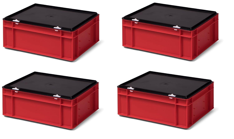 4 Stk. Transport-Stapelkasten mit Deckel TK414-D, rot, 400x300x156 mm (LxBxH), aus PP, Volumen: 13 Liter, Traglast: 35 kg, lebensmittelecht, made in Germany, Industriequalität