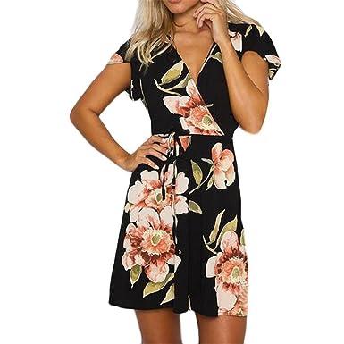 fbc47391f88 ISHILA Women Summer V Neck Short Sleeve Printing Cute Empire Sashes  Vestidos Boho Sundress at Amazon Women s Clothing store