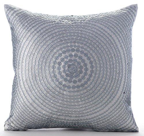 Silver Decorative Pillows Cover, Metallic Sequins Spiral Clu