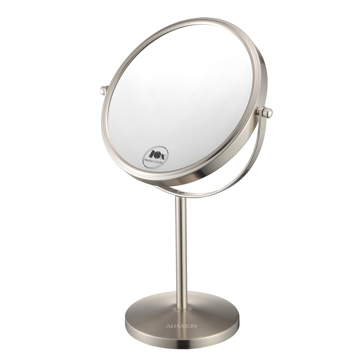 Magnifying Makeup Mirror, 8-Inch Double Sided Vanity Tabletop Mirror with 10X Magnification, Nickel Finished ALHAKIN