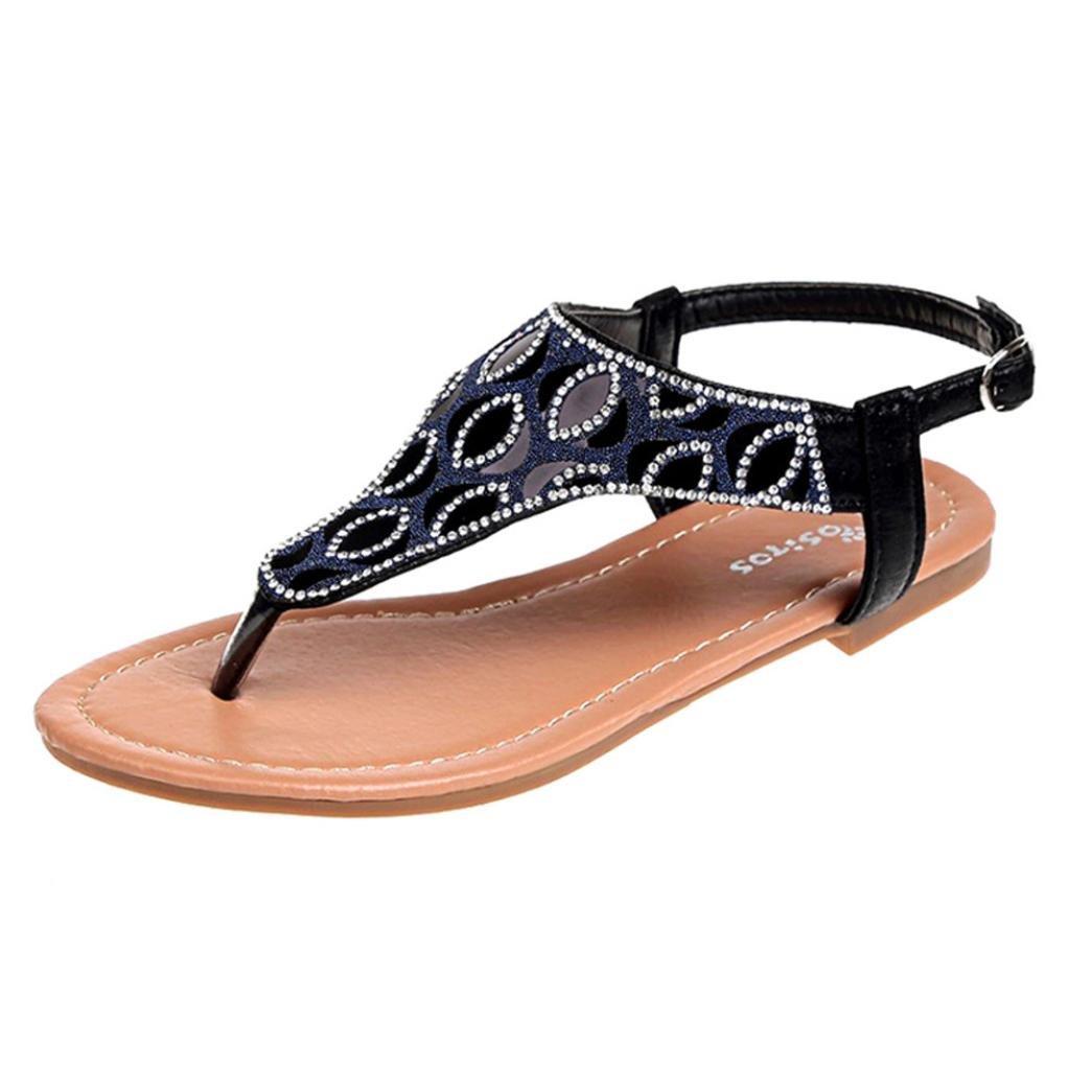 Women Round Toe Flats Flip Flops Crystal Sandals Shoes Ladies Bohemian Beach Sandals