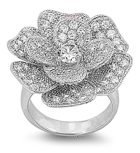 Sterling Silver Vintage Pave (White CZ Rose Flower Vintage Micro Pave Ring 925 Sterling Silver Band Size 9)