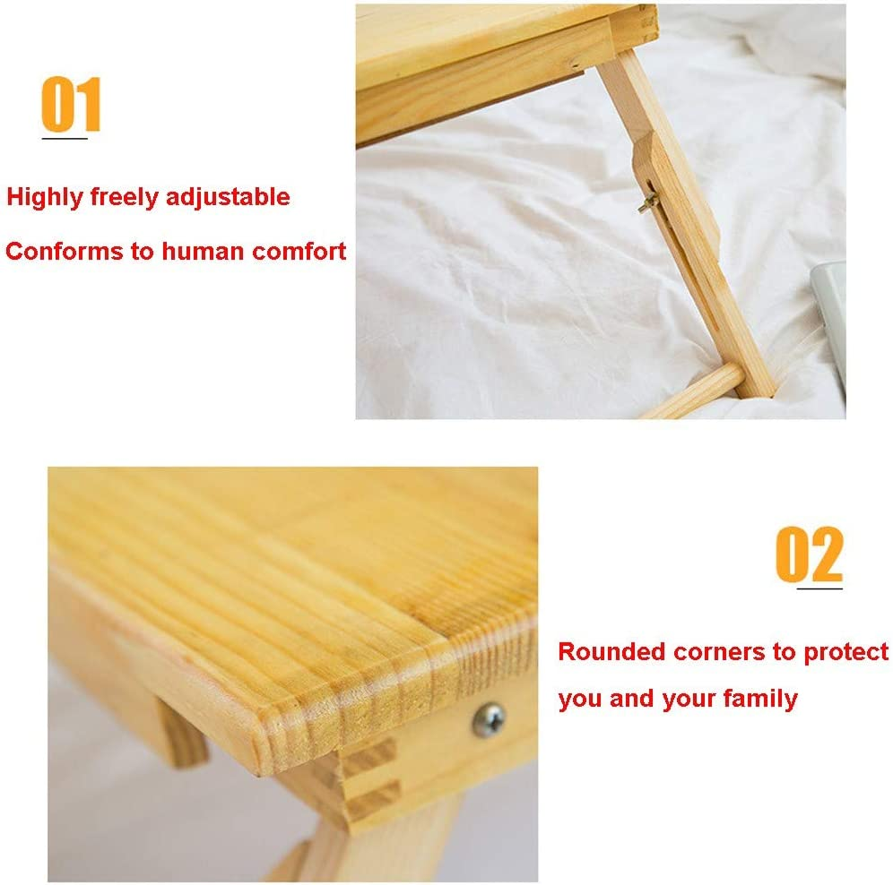 Yellow Multifunctional Portable Wood Bed Tray Foldable Folding Table with Foot Tray Computer Breakfast Serving Tray Bed Tray Bed Table Naiflowers Height Adjustment Laptop Tray Desk