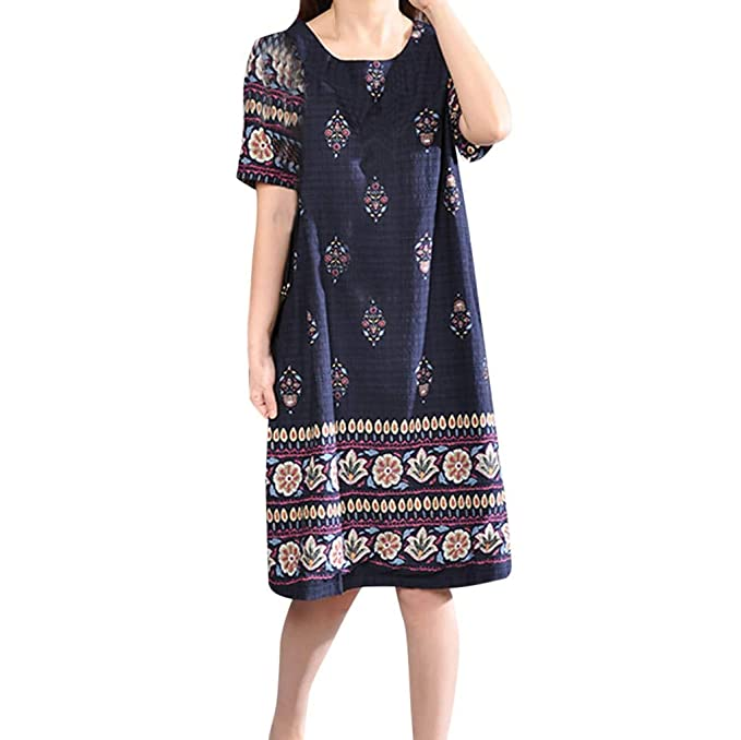 Amazon.com: HITRAS Women Dresses,Floral Cotton Linen Dresses ...