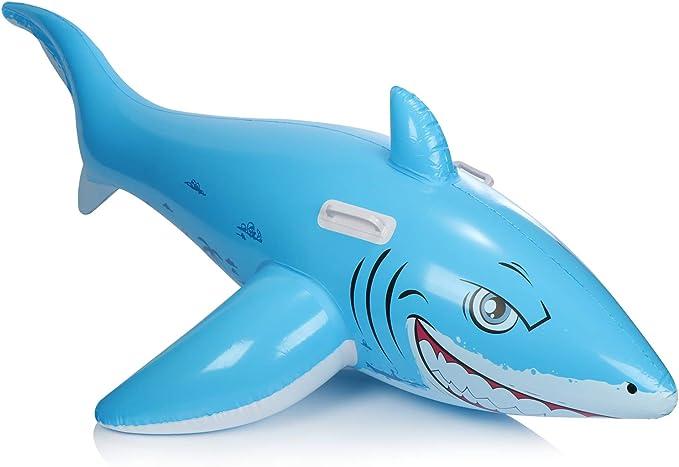 com-four® Animal de natación Inflable con diseño de tiburón - Animal de baño para la Playa y la Piscina - colchón de Aire - Isla de baño - Juguetes acuáticos (Tiburón - Azul)