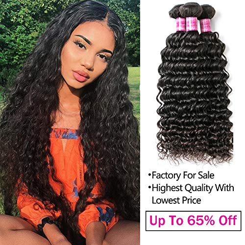 Brazilian Virgin Hair Bundles Deep Wave Bundles Wet And Wavy Human Hair Weave Bundles 100% Unprocessed Virgin Human Hair Bundles Curly Hair Extensions Can Be Dyed and Bleached 22
