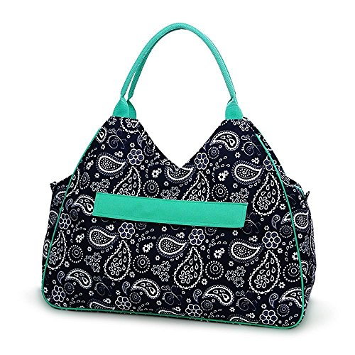 High Fashion Print Water Resistant Large Beach Bag Tote with Zipper Top Can Be Monogrammed or Personalized (Blue White Paisley - No Embroidery) ()