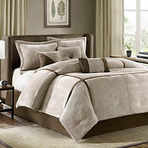 MADISON PARK SIGNATURE Farmhouse 9 Piece Woven Jacquard Stripe Design Comforter Set for Bedroom King Size Blue