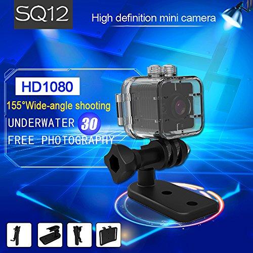 Impermeable FabQuaity mini cámara de visión nocturna SQ12 BONUS HD 16GB Tarjeta SD, cámara de acción deportiva videocámara 1080P DV Video Grabador DVR coche ...