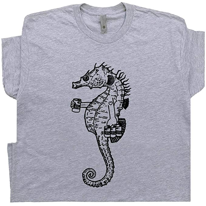 0801a8562 S - Seahorse T Shirt Drinking Beer Tee Bomba Shack Cute Graphic Great  Barrier Reef Tiki