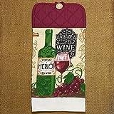 Vintage Wine Themed Hanging Dish Towel, Kitchen Decor