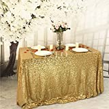 YZEO Gold 50'*72' Sequin Tablecloth Home Wedding Event Party Banquet Decoration Christmas Table Cloth Rectangle