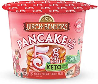 product image for Strawberry Shortcake Pancake Cups by Birch Benders, Grain-free, Gluten-Free, Keto friendly, only 5 Net Carbs, Just Add Water (8 Single Serve Cups)