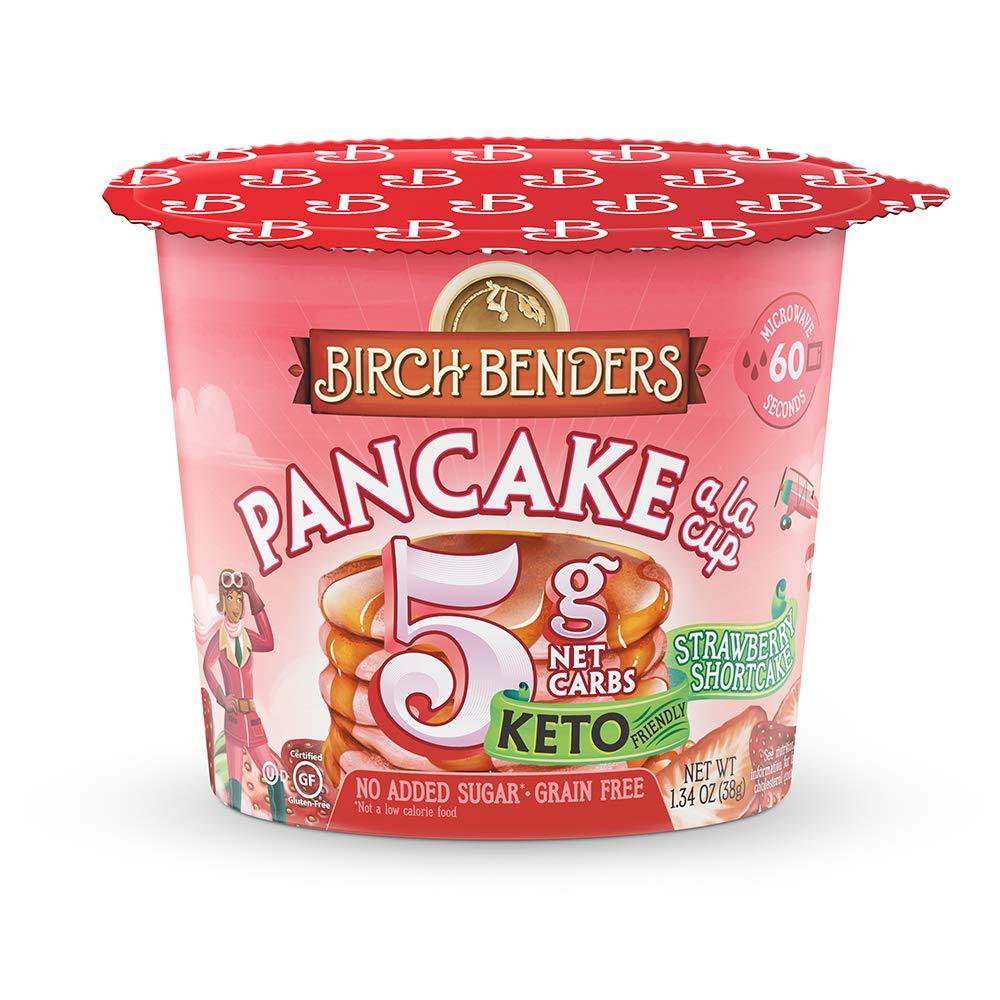 Strawberry Shortcake Pancake Mug Cake Cups by Birch Benders, Grain-free, Gluten-Free, Keto friendly, only 4 Net Carbs (8 Single Serve Cups)