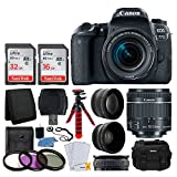 Canon EOS 77D DSLR Camera + EF-S 18-55mm f/4-5.6 is STM Lens + 58mm Wide Angle Lens + 2X Telephoto Lens + 48GB SDHC Memory Card + UV Filter Kit + Flexible Tripod + DC59 Camera Case + Accessories For Sale