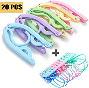 20 Pcs Travel Hangers with 12 Clips - Portable Folding Clothes Hangers Travel Accessories Foldable Clothes Drying Rack for Travel
