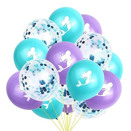 Amosfun 15pcs Sirena Globos de cumpleaños Globos de Confeti Globos de látex para Sirena cumpleaños temática Baby Shower Decoraciones del Banquete de ...