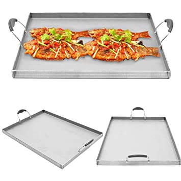 Global Brands Online Plancha de Acero Inoxidable, Plano Superior, Cocina, Barbacoa, Parrilla