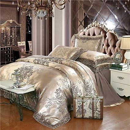 Luxury 6//7pc Light Blue /& Beige Jacquard Silk Cotton 600TC Duvet Cover Bed Set