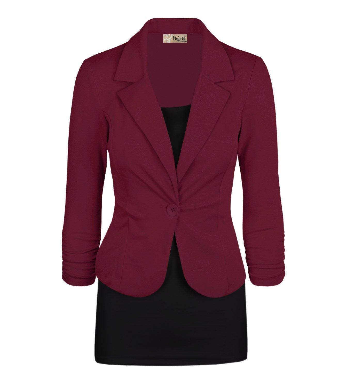HyBrid & Company Women Double Notch Lapel Office Blazer JK1131X 1073T Wine 2X