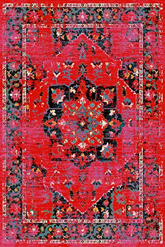 ADGO Siena Collection Modern Contemporary Live Red and Black Design Jute Backed Area Rugs Tall Pile Height Well Spaced Soft and Fluffy Indoor Living Dining Bedroom Floor Rug 6 6 x 9