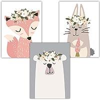 Frechdax® 3er Set Poster DIN A3 ohne Bilderrahmen   Mädchen Junge   Kinderposter Bilder für Kinderzimmer Babyzimmer   Tiermotive Tiere