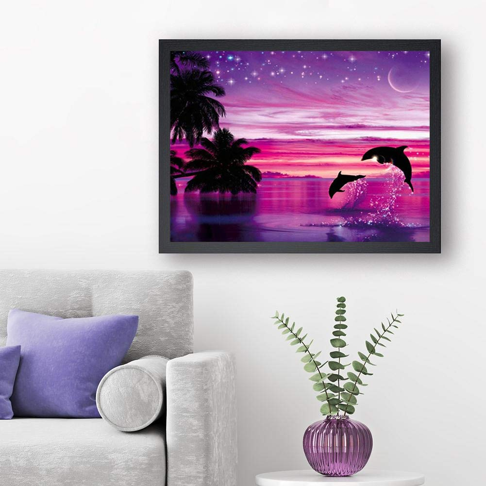 Colorful Sea DIY 5D Diamond Painting Kits for Adults Full Drill Embroidery Paintings Rhinestone Pasted DIY Painting Cross Stitch Arts Crafts for Home Wall Decor 40x50cm//15.7x19.6Inches
