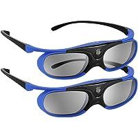 Boblov 3D Lunettes 3D Glasses Active Shutter DLP-Link USB pour BenQ W1070 W700 Dell (Bleu, Lot 2)
