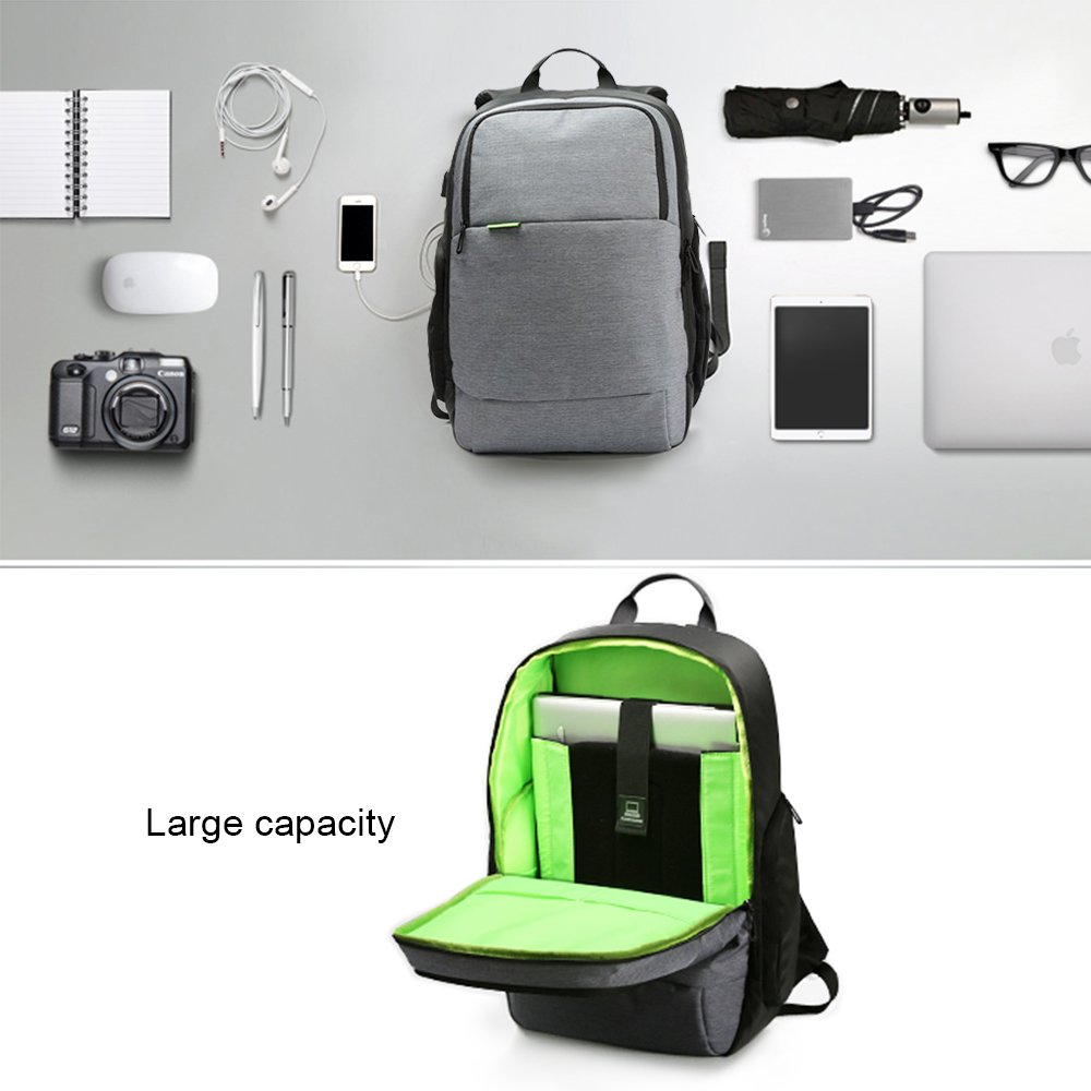 USB Charge Laptop Backpack,MultipurposeAnti-Theft Durable Travel Hiking Sports School Bags, 15.6 inch Laptop Bag,Casual Daypack, Business,Outdoor Rucksack (Grey) by iCozzier (Image #3)