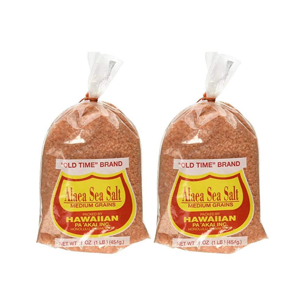 Hawaiian Pa'Akai Inc, Alaea Sea Salt Medium Grains, 16 oz (Pack of 2)