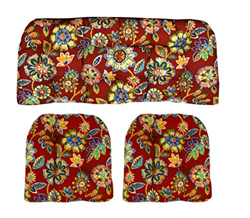 RSH Décor Indoor/Outdoor Wicker Cushions Two U-Shape and Loveseat 3 Piece Set Daelyn Cherry Red with Blue Yellow, Green Floral (Cushions Furniture Patio Pier One)