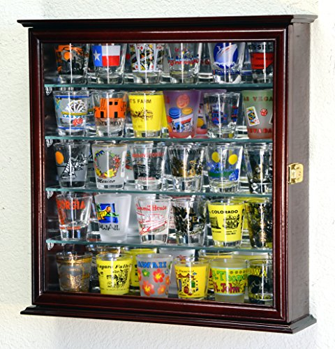 Mirrored Back Cherry - 4 Adjustable Shelves Shot Glass Shotglass Shooter Mini Liquor Display Case Cabinet w/Mirror Back -Cherry