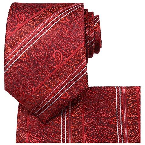 Patterned Red Tie (KissTies Red Paisley Tie Set Burgundy Floral Ties + Pocket Square)