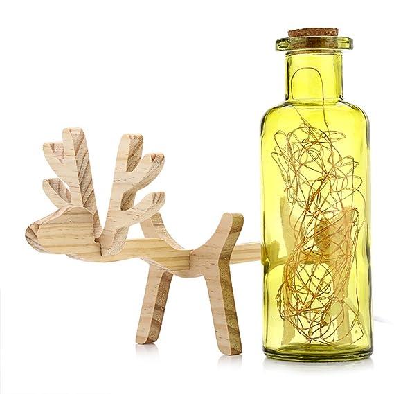 LEDMOMO Lámpara de vidrio de madera de los ciervos de la botella Lámpara de carga del vidrio de los ciervos Luz de la noche de los ciervos Regalo perfecto ...