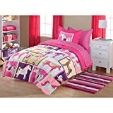 DP 7pc Girls Hot Pink Horsey Pony Comforter Sheet Set Full Sized, Mare Polka Dots Cute Animal Country Themed Teen Polyester, Brown Blue Green Purple Graphic Block Haflinger Stallion Pattern